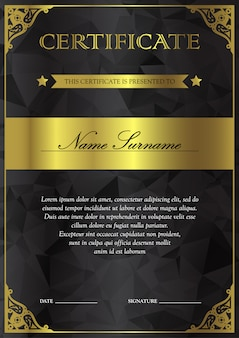 Black and gold certificate and diploma template