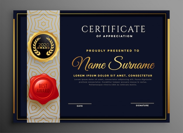 Black and gold certificate premium  template