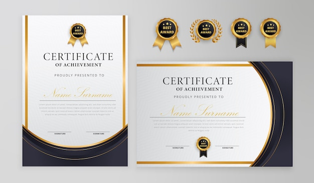 Black and gold certificate with badge and border for business and diploma template