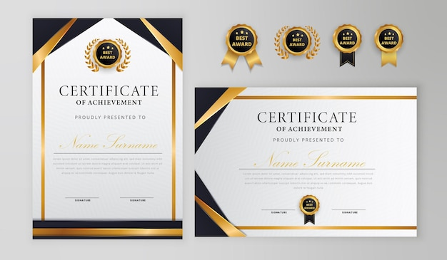 Black and gold certificate with badge and border