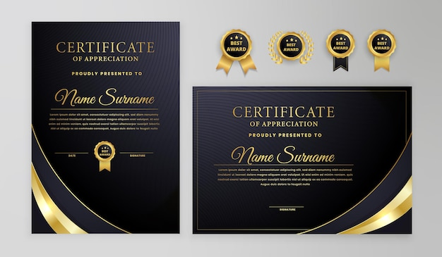 Black and gold certificate with badges and modern line pattern template
