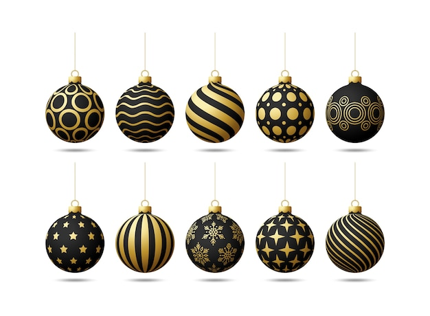 Black and gold christmas tree toy oe balls set  on a white background. stocking christmas decorations.  object for xmas , mockup.  realistic object illustration