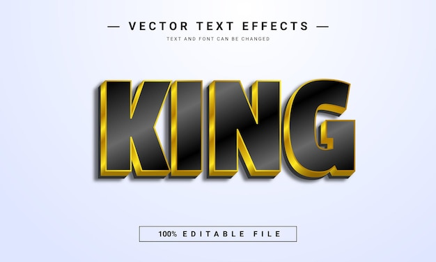 Black and gold color king editable text effect