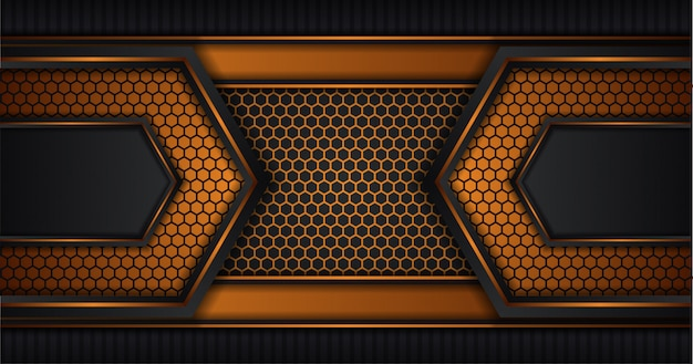 Black and gold colors abstract background. hexagon pattern. black vertical stripe. geometric abstract background