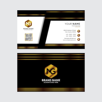 Black and gold design templates business card.