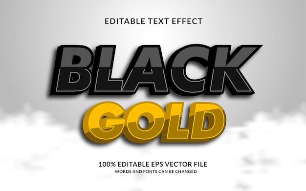 Редактируемый текстовый эффект черного золота