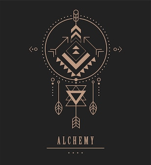 Black and gold esoteric Premium Vector