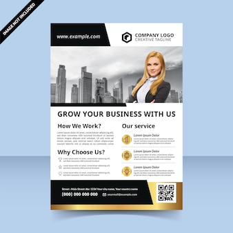 Black gold flyer template design how to grow your business