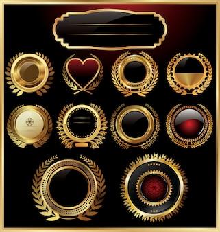 Black gold framed labels with laurel wreaths