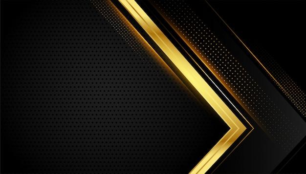 Sfondo geometrico nero e oro con spazio testo