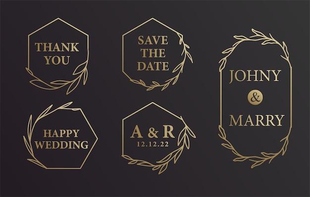 Black and gold hand drawn wreath wedding bride groom name invitation background