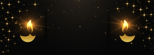 Black and gold happy diwali banner with text space