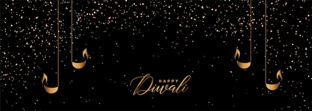 Black and gold happy diwali sparkles banner