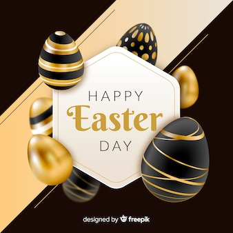 Black and gold happy easter day background