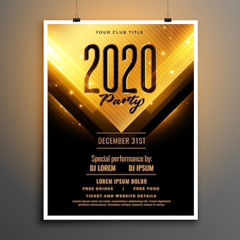 Black and gold happy new year party flyer template design