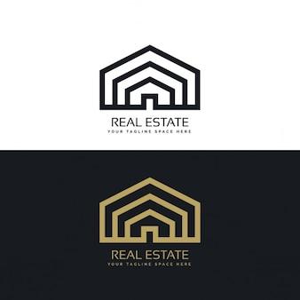 Minimal linea di stile di design del logo immobiliare