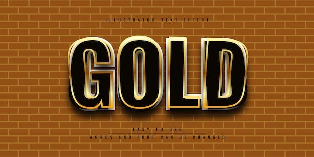 Черное золото иллюстратор редактируемый дизайн шаблона 3d текстовый эффект