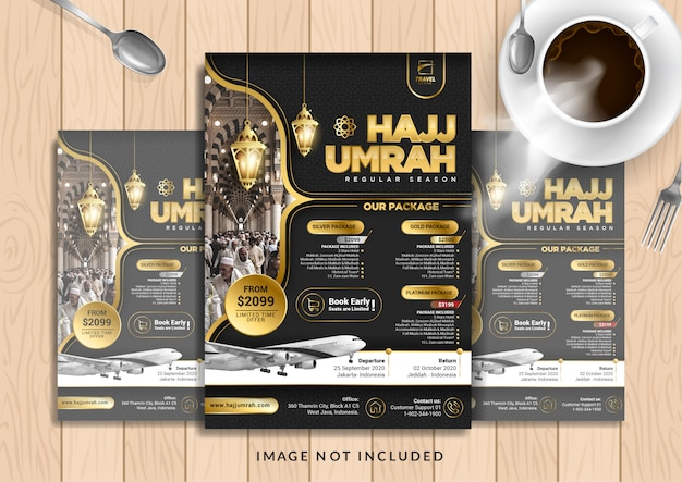 Black gold luxury hajj & umrah flyer template in a4 size.