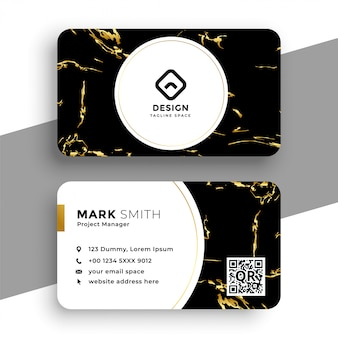 Black and gold marble texture business card