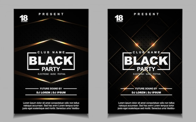Black and gold night dance party music flyer