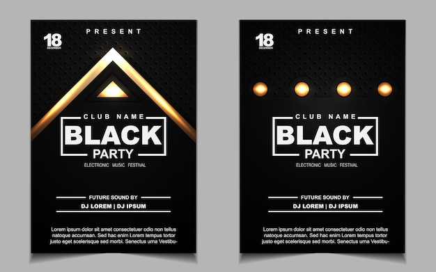Black and gold night dance party music poster