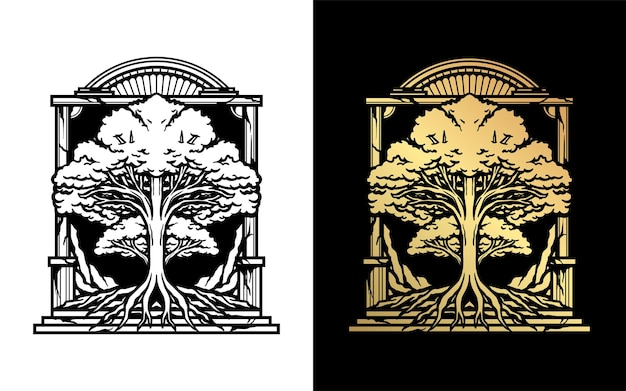 Black and gold oak tree vector drawing