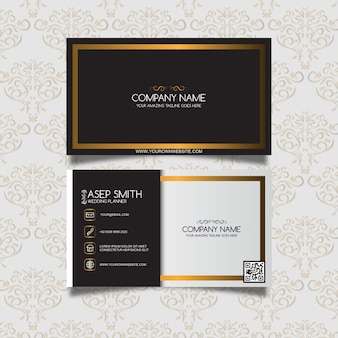 Black and gold ornamental business card