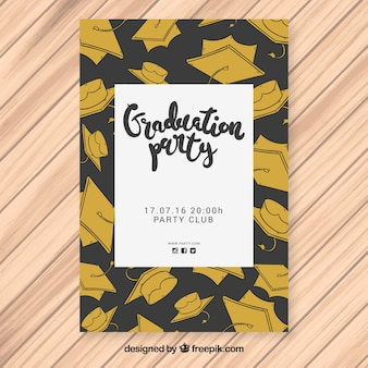 Black and gold party poster with hand-drawn graduation caps