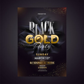 Black gold party template or poster design with date, time and v