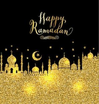 Black and gold ramadan background