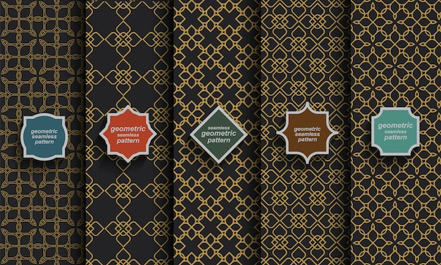 Black and gold seamless islamic patterns, vector set
