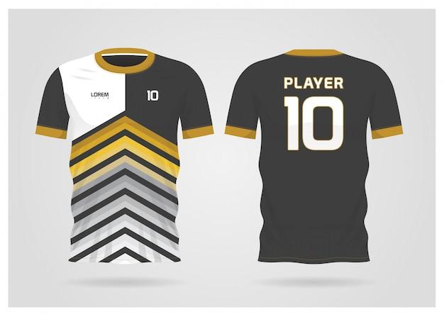 Форма футболки черного золота для футбольного клуба, вид спереди и сзади футболки