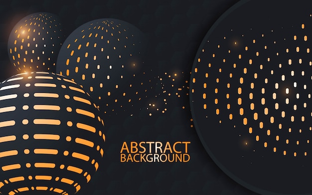 Black and gold spheres background - vector