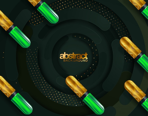 Black and gold spheres background