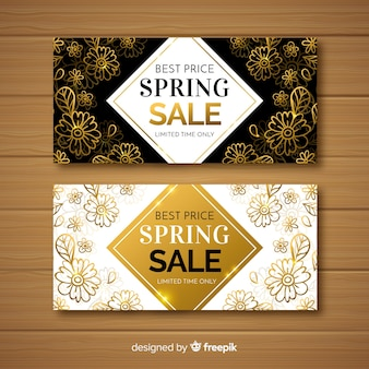 Black and gold spring sale banners