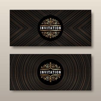 Black and gold template design for invitation.