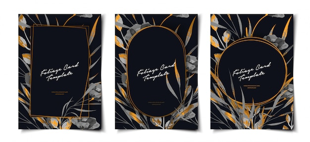 Black and gold watercolor cover template set