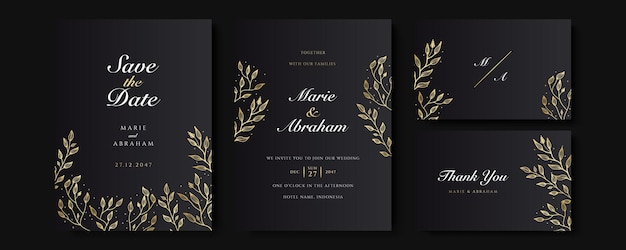 Black and gold wedding invitation template set. abstract floral design background set. luxury modern style wallpaper with art flower and botanical leaves, organic shapes