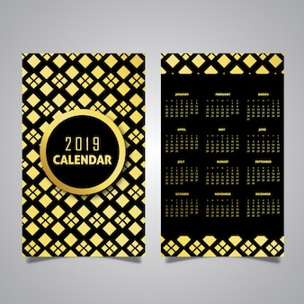 Black & Golden 2019 Pattern Calendar Designs