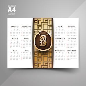 Black and golden 2019 pattern calendar designs