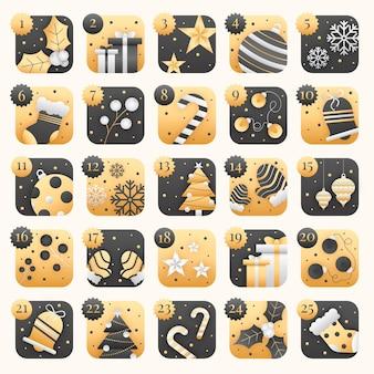 Black and golden advent calendar