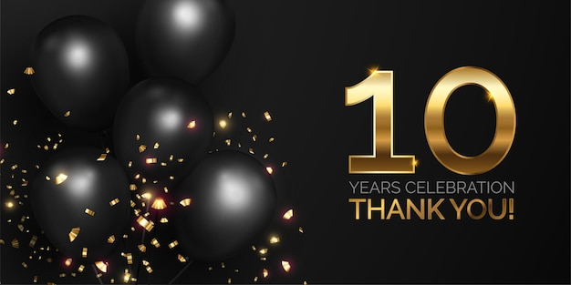 Black and golden anniversary celebration Free Vector