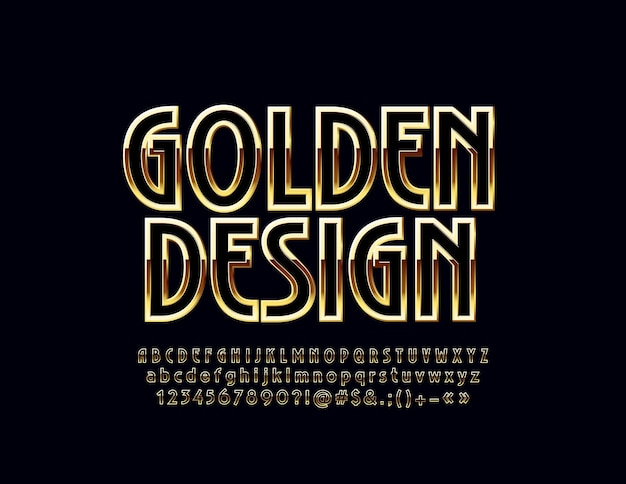 Black and golden art deco design alphabet. luxury letters, numbers and symbols. stylish font