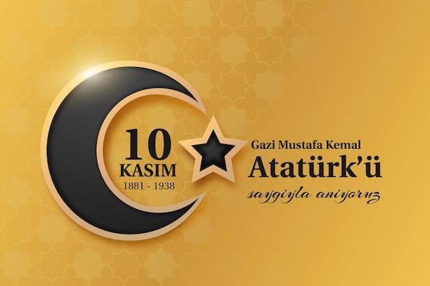 Giorno commemorativo di ataturk nero e dorato