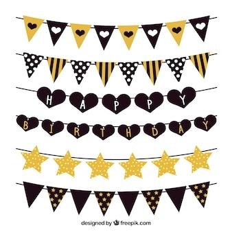 Black and golden birthday garlands