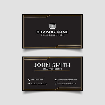 Black golden business card modern  layout.