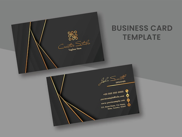 Black and golden business card template layout with double-sides.