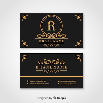 Black and golden business card