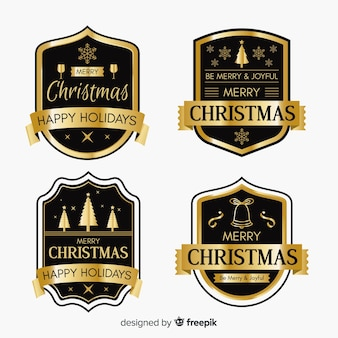 Black and golden christmas badge collection