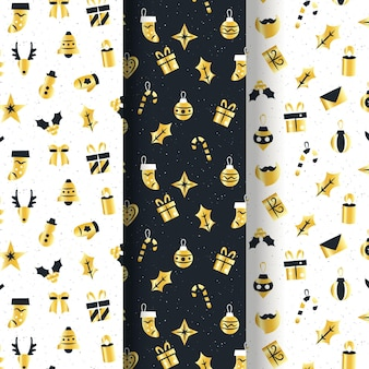 Black and golden christmas pattern collection